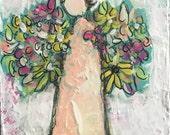 Mixed Media Canvas Acrylic Original Art Angel