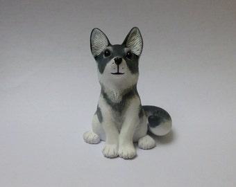 Grey Wolf Sitting Wolf Ornament Wolf Canine Sculpture Polymer Clay Figurine Animal Model
