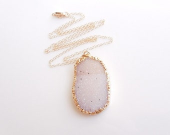 White Druzy Necklace - Drusy Jewelry - OOAK