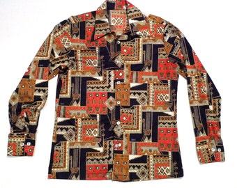 Abstract Tribal Print shirt Mens Medium Vintage D'Avila 1970s Disco Shirt Tribal Art Inspired Graphic with Birds Masks Diamond folk art