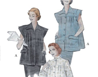 Butterick 5820 Women's 50s Boxy Button Front Smock Sewing Pattern Bust 36