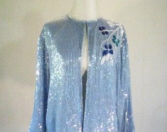 Jewel Queen Blue Icy Sequin Cardigan Jacket Top Glam