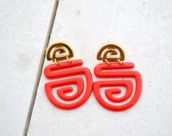 1980s Red and Gold Post Back Earrings