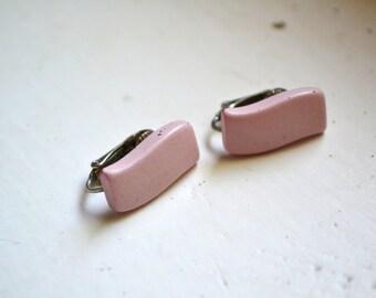1980s Pink Plastic Clip Earrings