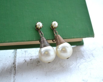 1950s Pearl and Pyramid Clip Earrings