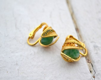 1960s Jade Green and Filigree Clip Earrings