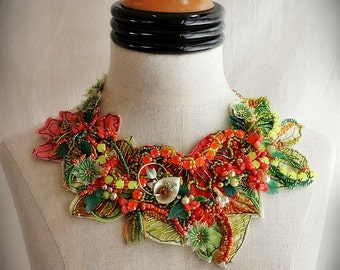 CACTUS FLOWER Orange Green Beaded Textile Statement Necklace