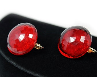 Dalsheim Red Faceted Button Earrings, Lucite or Plastic