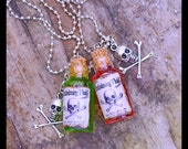 Embalming Fluid Necklace ,Green n Pink  Fluid Bottle ,Post Mortem, Mortician , Undertaker Creepy Fun  Glass 2ml Vial By: Tranquilityy