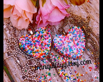 Sprinkle Heart Necklace Super Sweet Sprinkle Resin  Flat Heart Necklace  , Kawaii, Hipster, Scene By: Tranquilityy