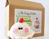 Crochet Cupcake Kit, Amigurumi Kit, DIY Craft, Learn to Crochet, Crochet Cupcake Pattern