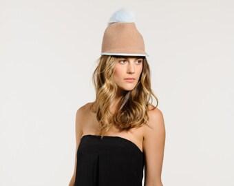 Felt hat, Pom Pom Cap, Color Block, Fall, Winter, Baseball Cap, Baby Blue