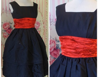 REDUCED - Stunning Vintage 1950s Red & Black Chiffon Cocktail Dress XS S Extra Small