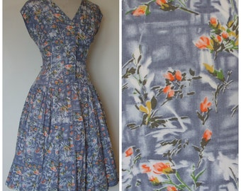 REDUCED - 1950s Day Dress / Pretty Floral Print Drapey Cotton / Dropped Waist / Full Skirt / St. Michael / M Medium