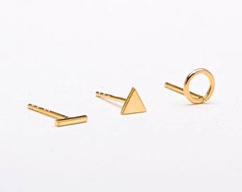 Tiny Geometric 3 Earrings SET, Sterling Silver Gold Plated, Minimal Stud Earrings, Trendy Earrings, Lunaijewelry, Gift for her, COM007