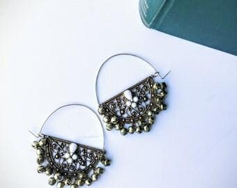 chandelier earrings gold indian earrings indian jhumkas tribal earrings large hoop earrings bell earrings bohemian | Jaya indian jewelry