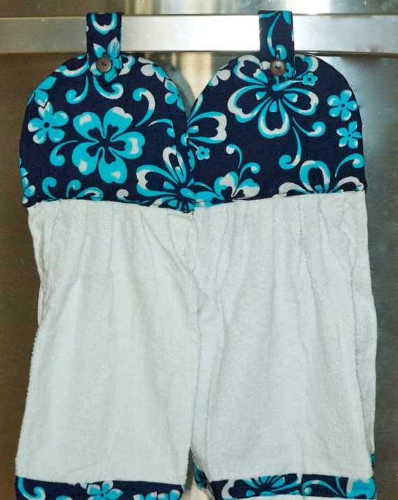 1 set of Dark Navy Blue with Turquoise Hibiscus Hanging Hand Towel with Coconut Button