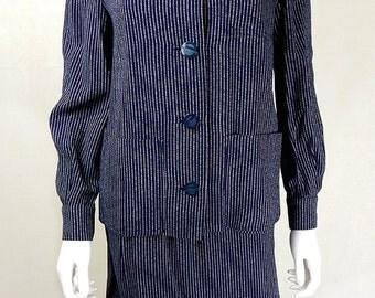 1960s Designer Vintage Christian Dior Navy Skirt Suit Size 8/10