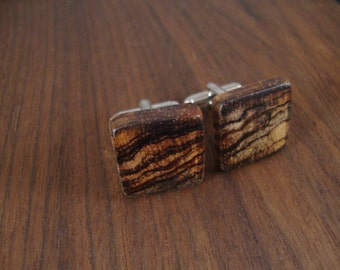 Men's Wooden Cuff Links - Cocobolo Wood - Wedding, anniversary, any Special Occasion
