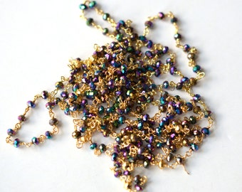Vermeil Multi Color Vitrail Crystal Rondelle 3mm Chain - 1 Foot