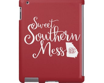 Personalized iPad Air Case - Custom iPad mini case, Monogram iPad Cover- Sweet Southern Mess in ANY color