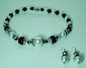 Black and White Pearl Beaded Necklace with matching Dangled Earrings