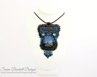 Beaded Raven Pendant Northern Lights Statement Necklace Western Bead Embroidered Fashion Jewelry Bohemian Necklaces Boho Chic Ravens