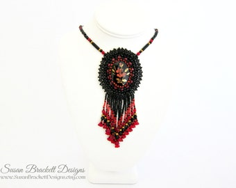 Beaded Cameo Necklace Rose Pendant Statement Necklaces Fashion Jewelry Bead Embroidered Jewellery Seed Beads Embroidery - CLEARANCE ITEM