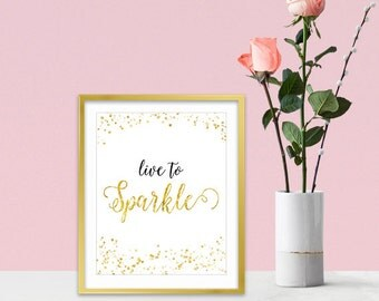 Canvas Wall Art - Gold Glitter Sparkles - Inspirational Wall Art - Inspirational Gifts For Women - Sparkle Collection - Gold Home Decor