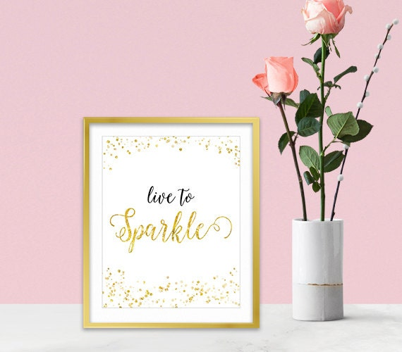 Canvas wall art gold glitter sparkles inspirational wall - Sparkle wall decor ...