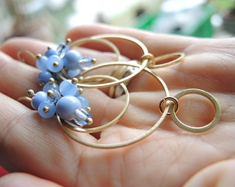 chefchaouen- earrings with hoops and a cluster of blue beads