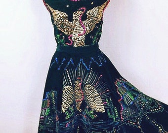 Reserved/////Rad Vintage Sequined Painted Velvet Swing Costume ~ 60's doing 40's ~ hand painted Aztec Mayan Skirt Top Outfit ~ Eagle/Phoenix