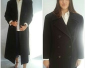 Black Double Breasted Coat XLong Length Blazer Long Pea Coat Classic 1990s Hipster Vintage Collared Women Medium