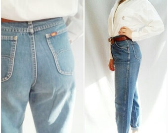 LEE jeans , MOM Jeans , 70 vintage jeans, 70S BAGGY jeans,  Washed Grunge Jeans, High Waisted jean,  Pleated Boyfriend Jeans, Medium wash  M