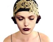 Art Deco Cloche Hat, Black Knit Hat, Gold Flapper Hat, 1920s Hat, Great Gatsby, Black Cloche Hat, Crochet Beanie, Retro Hat, Gift For Her