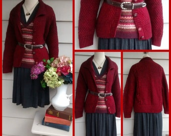 Handknit Cardigan - L - Vintage Hand Knit Knitted Handknit 100% Wool Cabled Red Heathered Collared Cardigan Sweater with Buttons