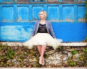 Custom Handmade Tulle Skirt  by Kellie Falconer // Engagement Photo Shoot Tutu // Elastic Waistband // Midi Hem