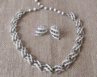 Coro White Enamel Necklace and Earring Set