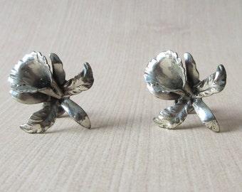 Beau Sterling Silver Flower Iris Earrings Vintage Sterling Beau Earrings