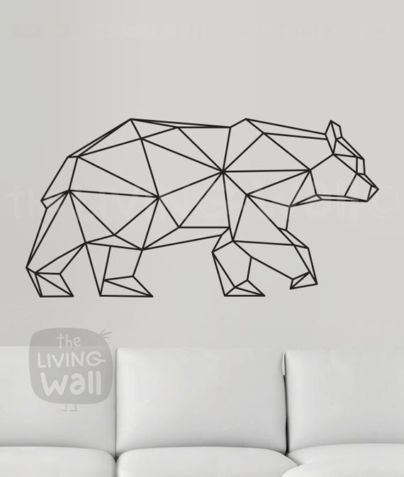 Bear Wall Art geometric bear wall decal geometric animals decor bear wall