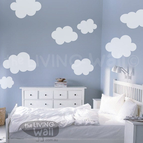 fluffy cloud wall decals cloud decal white cloud wall. Black Bedroom Furniture Sets. Home Design Ideas