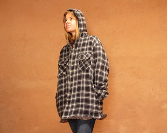 90s nirvana GRUNGE plaid FLANNEL oversized HOODIE button up down shirt crossover
