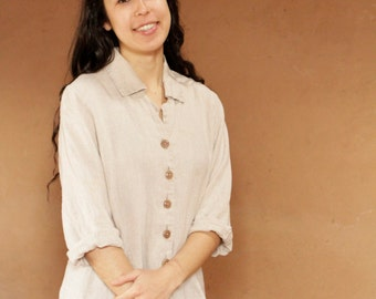 vintage LINEN soft spring normcore faded SOFT button down up shirt