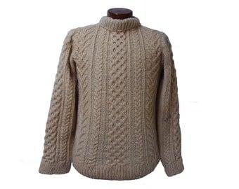Vintage Cream Cableknit Fisherman Sweater Wool Turtleneck Womens Size Medium