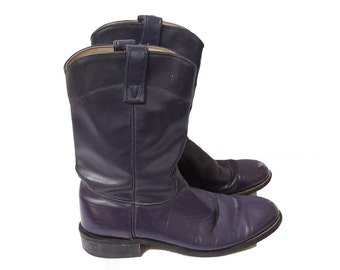 Vintage Purple Leather Boots Women's Size 8.5 / 9 M Roy Cooper Boots