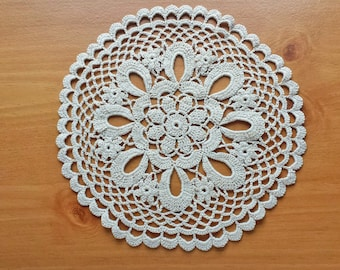 Beautiful Flower Doily, Beige Taupe Colored 8.5 Inch Round Doily, Wedding Table Centerpiece Doily
