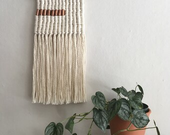 Driftwood and Copper Bead Macramé Wall Hanging