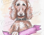Cocker Spaniel Illustration print, dog portrait illustrated with watercolors, can be customized with pet name, personalized, brown dog
