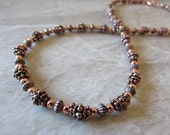 Beaded All Copper Necklace in Antiqued Copper with Handmade Beads, Artisan