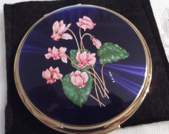 ON SALE- Stratton Powder Compact; Rondette; Signed; Featuring Pink Cyclamen Flowers On A Cobalt Background circa 1950's-1980's   DR129
